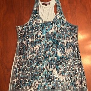 Almost Famous Tops - Blue sequined racer back tank top